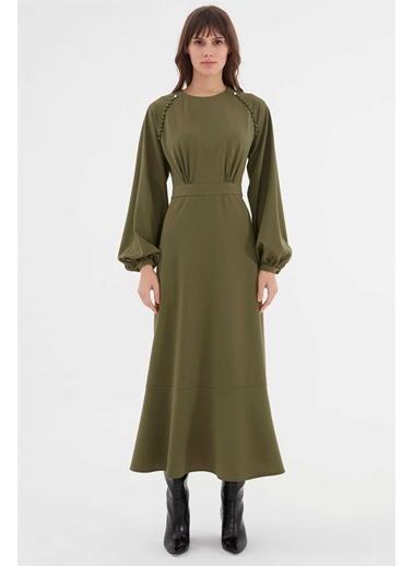Vivencia Omuz Düğme Işlemeli Kadın Elbise Taba Haki
